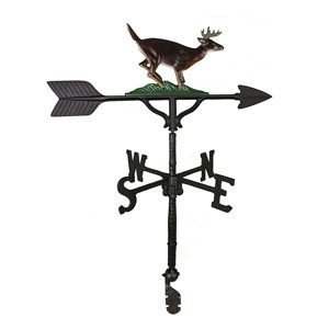 Montague Metal Products 32-Inch Weathervane with Satin Black Buck Ornament by Montague Metal Products