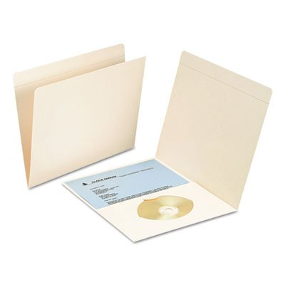 File Folders with Media Pocket, Straight Top Tab, Letter, Manila, 50/Box, Sold as 50 Each -