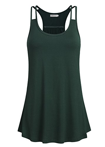 - Helloacc Yoga Tank Tops for Women 2XL Plus Size Sleeveless Workout Shirts Fashion Loose Fitting Gym Tops Ladies Activewear Loose T Shirts Running Comfy Soft Tunic Tees Business Casual Clothing Green