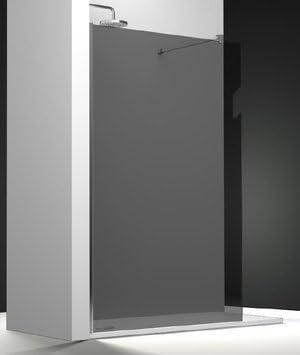 Mampara de ducha fija One vidrio transparente Securit en gris ahumado de 8 mm antical con puerta toalla: Amazon.es: Bricolaje y herramientas