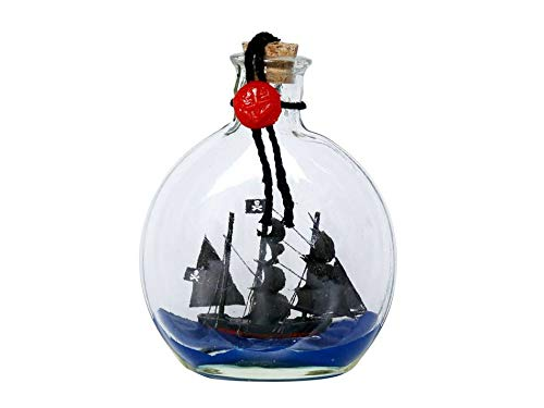 Hampton Nautical Black Pearl Model Ship in a Glass Bottle 4