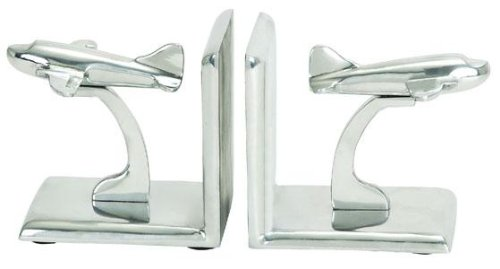 Airplane Bookends - Deco 79 34522 Alumimum Bookend Pr, 5