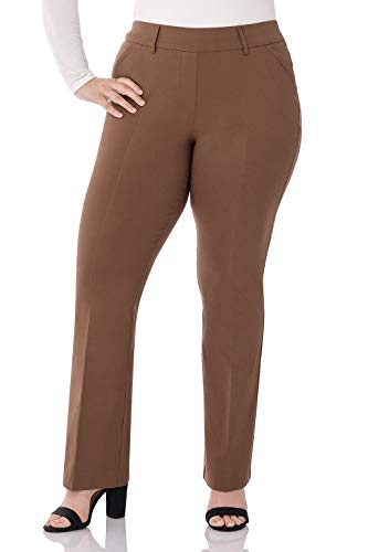 Rekucci Curvy Woman Ease in to Comfort Fit Barely Bootcut Plus Size Pant (16WSHORT,Chestnut)