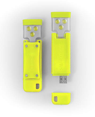 SmartFlare SwivelClip Mini LED Light Clip-On Ball Cap or Shirt Rechargeable Flashlight - Yellow