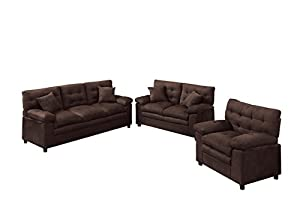 Poundex Bobkona Colona Mircosuede 3 Piece Sofa and Loveseat with Chair Set, Chocolate