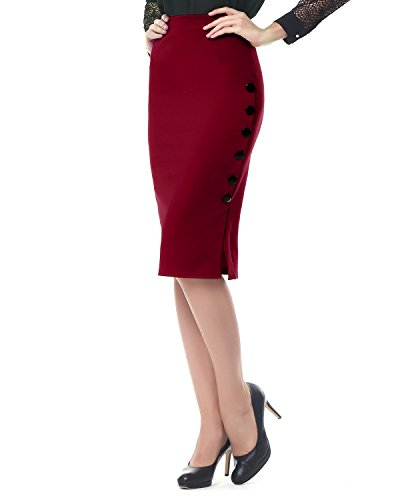 KENANCY Women Elegant OL Style Slim Button Sexy Open Slit Pencil Midi Skirt (M, Wine Red) Button Back Pencil Skirt