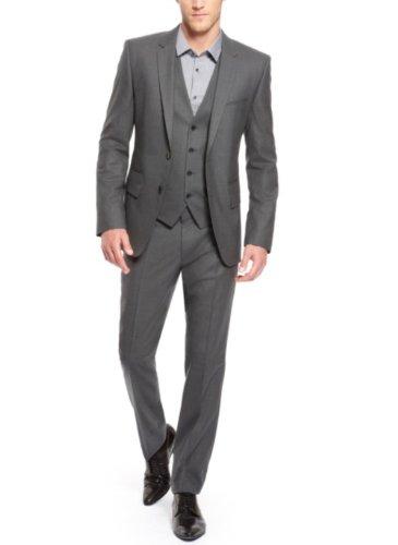 Honeystore Men's Vest Pants with 3 Pocket Flaps Suits Color Grey Size X-Large