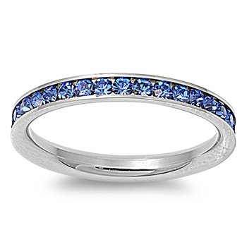 (Stainless Steel Eternity Blue Cz Wedding Band Ring 3mm (Size 3,4,5,6,7,8,9,10); Comes with Box(4) )