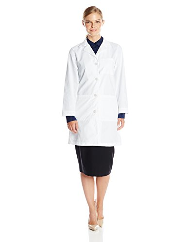 Landau Women's Professional 38 inch 3-Pocket Fitted White Medical Lab Coat, - 3155 Lab Womens Coats Landau