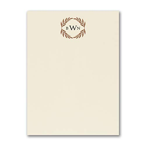 275pk Monogram Wreath - Note Card - Ecru-Note Cards by Carlson Craft (Image #1)