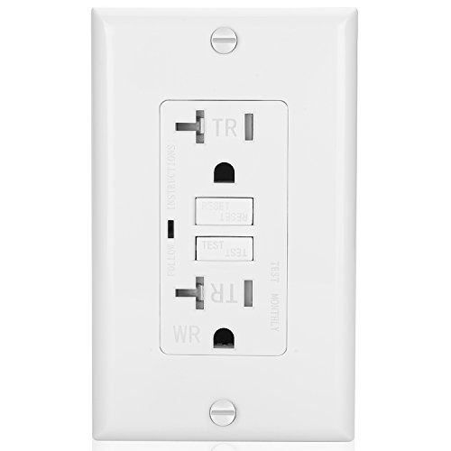 Bestten Self-Test Duplex Weather Resistant GFCI Receptacle, Tamer Resistant Outlet with LED Indicator, 20A/125V/2500W, Auto-Test Function, Decorative Wall Plates Included, UL Listed, ()