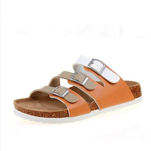 Slides Footbed Open Strap 17 Three Cork YaMiFan Buckle Sandals Sandal Toe Womens Flat Bw5OHq
