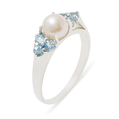 925 Sterling Silver Cultured Pearl & Blue Topaz Womens Cluster Anniversary Ring - 12 - Size 12