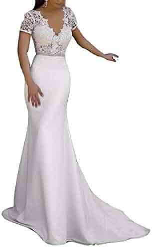 8f5fd60713a4 YAXIU Women's V-Neck Bride Mermaid Floor Length Lace Sexy Belt Wedding  Dress Sleeves with