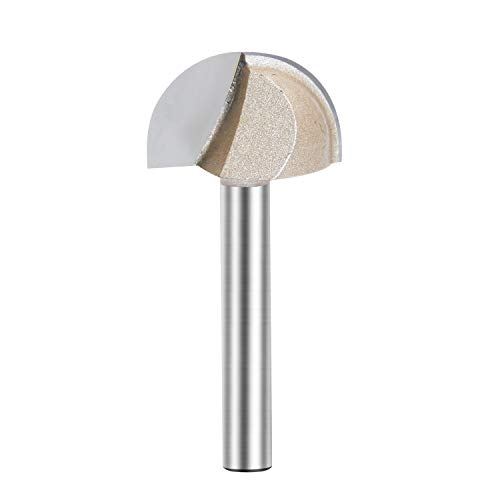 Core Box Router Bit Double Flute Round Nose Router Bit Carbide Tipped Woodworking Tool Round Groove Router Bit 1/2'' Radius x 1'' Dia. x 1/4 inch Shank (1/4X1)