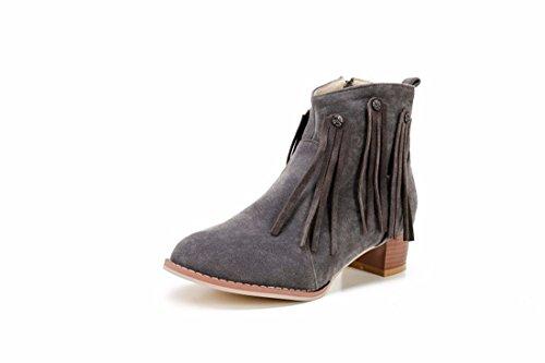 el botas invierno botas matorrales de con y Grey tamaño otoño gran El Terry con zapatos flecos 7qwnxE4It