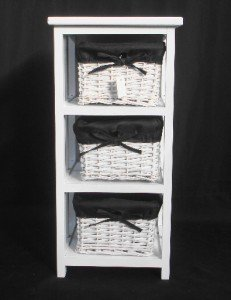 3 White Basket Drawer Bathroom Storage Unit Cabinet Black. W29Xd31Xh60 Cm & 3 White Basket Drawer Bathroom Storage Unit Cabinet Black ...
