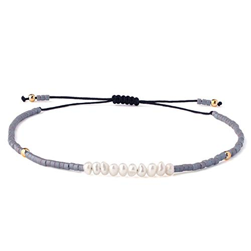 KELITCH Shell Pearls Beaded Strand Bracelets Handwoven Friendship Seed Beads String Charm Bracelet Fashion Jewelry for Girls(Gray M)