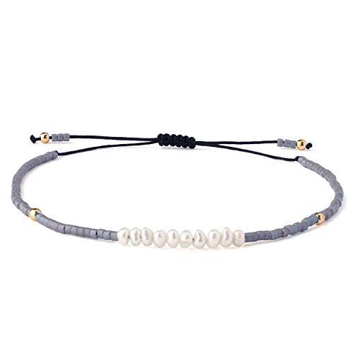 - KELITCH Shell Pearls Beaded Strand Bracelets Handwoven Friendship Seed Beads String Charm Bracelet Fashion Jewelry for Girls(Gray M)