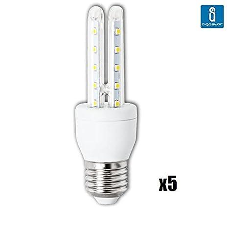 Pack de 5 Bombillas LED T3 2U, 4W, casquillo gordo E27, 320 lumen, luz blanca 6400K: Amazon.es: Iluminación