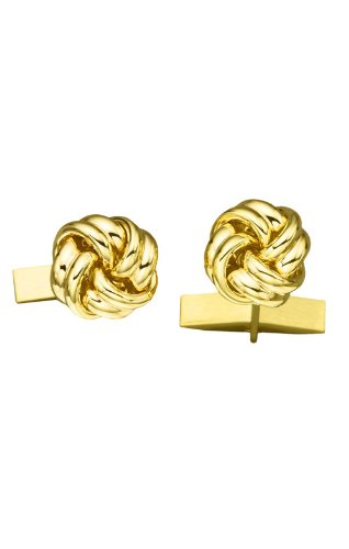 14K Yellow Gold Solid Love Knot Cufflinks-86673 by L&M