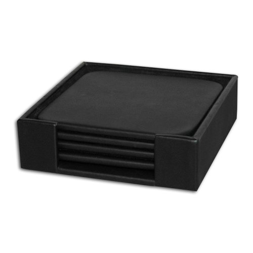 Dacasso Leatherette Square Coaster Set with Holder, Black