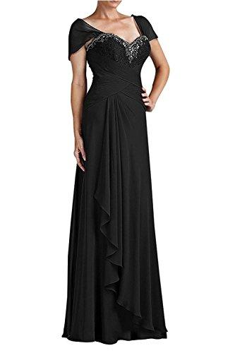 Schwarz Festlichkleider Brautmutterkleider Kurzarm Partykleider Spitze Chiffon Braut Abendkleider mia Elegant Langes La mit B7YZ0wq