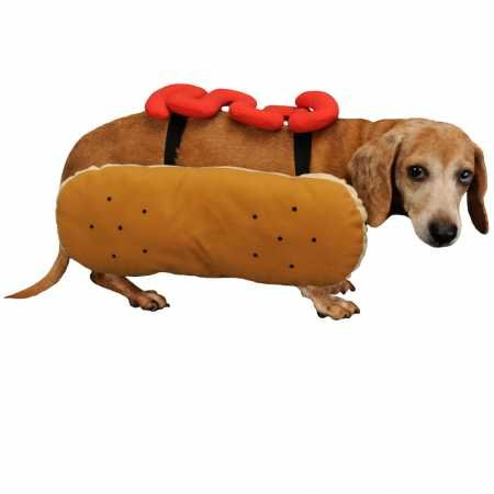 Otis and Claude Fetching Fashion Hot Diggity Dog Costume Ketchup Medium]()