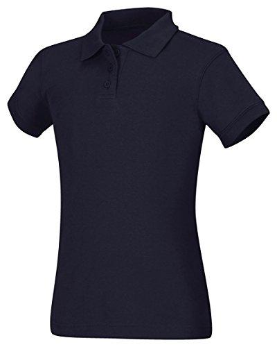 Classroom School Uniforms Junior Girls Short Sleeve Fitted Interlock Polo, Dark Navy, X-Large