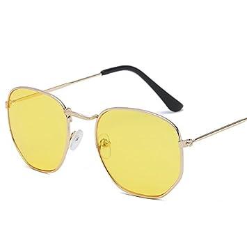 TL-Sunglasses Los Hombres Lentes de aviación Hexagonal Plana ...