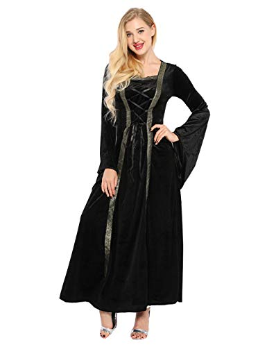 Colorful House Plus Size Medieval Dress, Renaissance Princess Costume for Women(Black, Small)