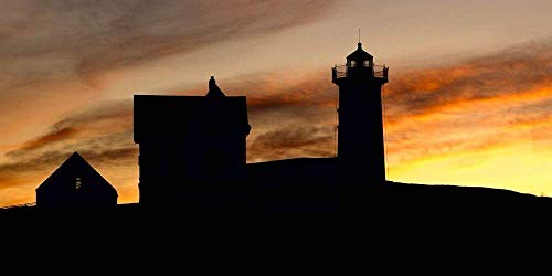 Nubble Lighthouse Silhouette 2 matted 11x14 Photograph