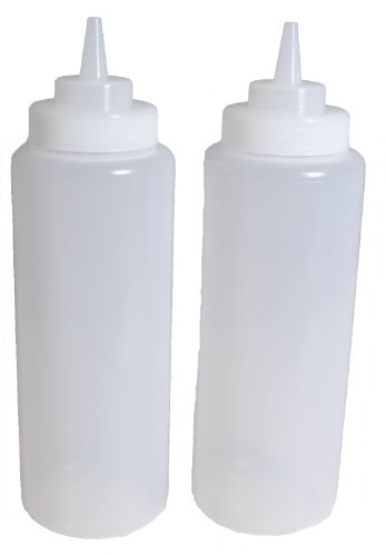 SET of 3, 32 Oz. (Ounce) Large Clear Squeeze Bottle, Condiment Squeeze Bottle, Open-tip, Wide Screw-on Spout, Polyethylene Durable Plastic, Diner Style.