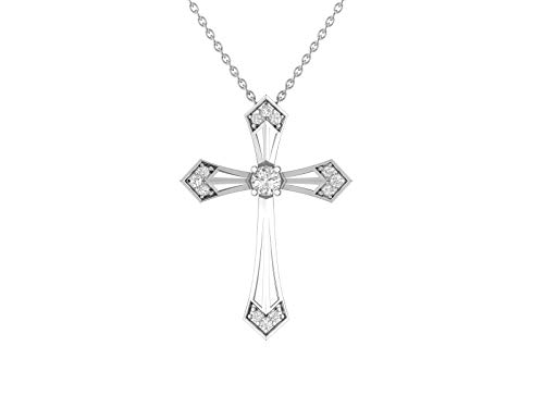 14K White Gold 1/4 Carat (H-I Color,SI2-I1 Clarity) Natural Diamond Fashion Cross Pendant Necklace for Women with 18