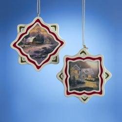 Kurt Adler Thomas Kinkade Winter Scene Holiday Ornament Set OF - Kinkade Decoration Christmas