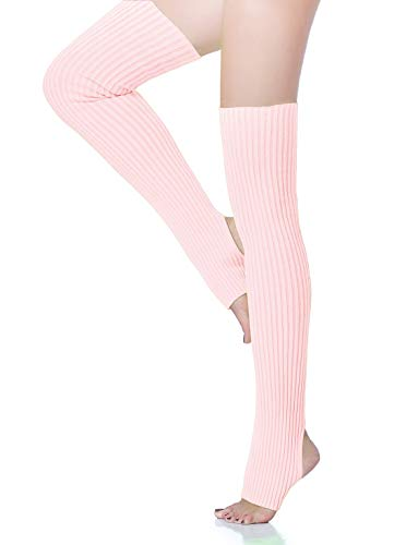V28 Women Over Knee Cable Knit Ribbed Crochet Long Boot Leg Warmers (H71 ()