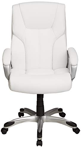 AmazonBasics High-Back Executive Swivel Office Desk Chair - White with Pewter Finish
