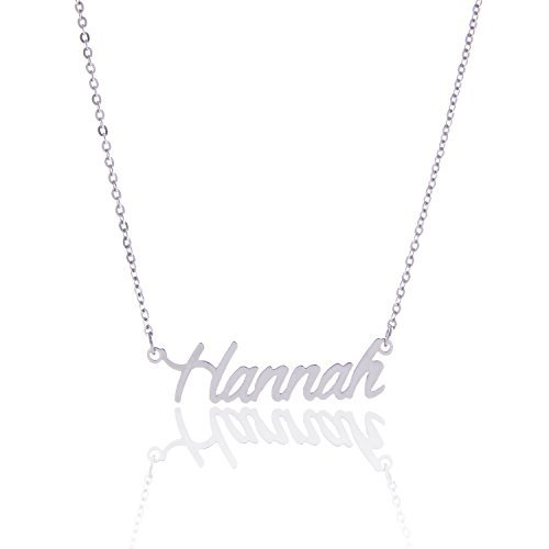 Letter Nameplate Pendant (AOLO Stainless Steel Letters Silver Name Plate Necklace, Hannah)