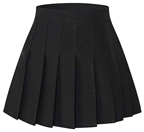 SANGTREE Junior Teen Girls Womens High Waist School Uniform Cosplay Costume Pleated Short Skirt, Black Tag XL = US L -