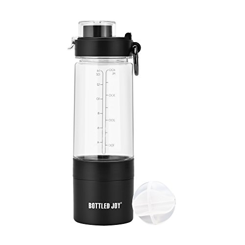 BOTTLED JOY Protein Shaker Bottle with 2-Layer Twist and Lock Storage Container - Tritan Lady Sports Protein Mix Fit Shaker Water Bottle 480ml 16oz 16 Ounce (Black) ()