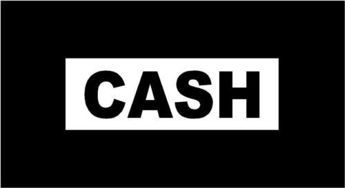 WHITE Vinyl Decal CASH country rock music Johnny fun sticker, die cut vinyl decal for windows, cars, trucks, tool boxes, laptops, MacBook - virtually any hard, smooth (Rock The Cash Box)