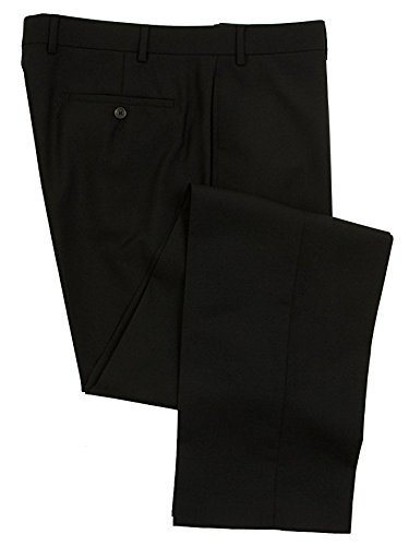 RALPH LAUREN Men's Flat Front Solid Black Wool Dress Pants - Size 34 x 32 -