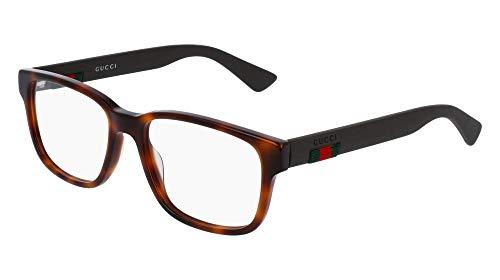 Gucci GG 0011O 002 Havana Plastic Square Eyeglasses 53mm