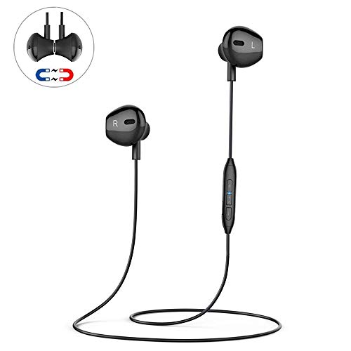 Bluetooth Headphones, Wireless HiFi Stereo Sport Magnetic Headsets in-Ear Workout Sweatproof Earbuds with Mic (Noise Canceling, 4~6 Hrs Playing Time, Fast Pairing, 33ft Transmit Range)-Black
