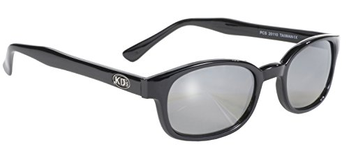 Pacific Coast Original KD's Biker Sunglasses (Black Frame/Silver Mirror Lens)