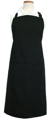 (Ritz Royale 100% Cotton Twill Two-Pocket Bib Apron with Adjustable Neck and Waist, Black)