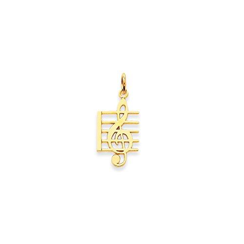 Roy Rose Jewelry 14K Yellow Gold Music Note (14k Music Charm)