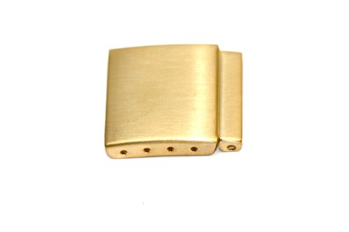 16MM GOLD STAINLESS STEEL WATCH BAND BRACELET CLASP BUCKLE EXTENDER LINK W PINS