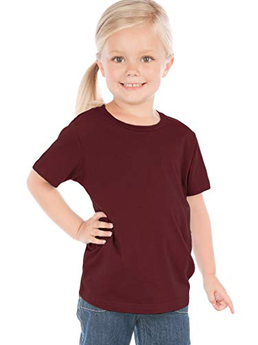 (Kavio! Toddlers Crew Neck Short Sleeve Tee Jersey (Same TJC0440) Wine 2T )