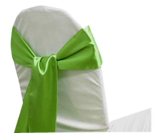 mds Pack of 10 Satin Chair Sashes Bow sash for Wedding and Events Supplies Party Decoration Chair Cover sash -Parrot Green (Lime Green Sash)